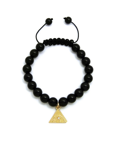 Black Bead Bracelet (Pyramid)