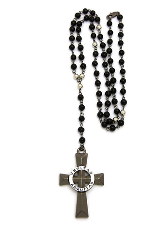 Rosary Bead Cross (Rhodium)