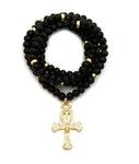 Wooden Necklace Cross Chain (Gold)