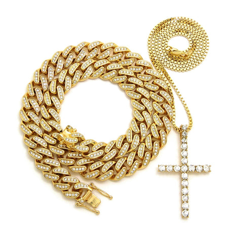 Cross / Iced Out Cuban Link Set