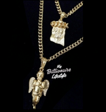 5.5mm Gold Link Chain with Angel / Jesus Piece Set