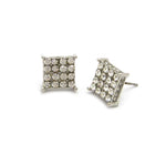 Square Bling Earrings (Silver)