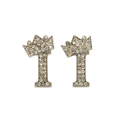 Crown Letter Earring (Silver)