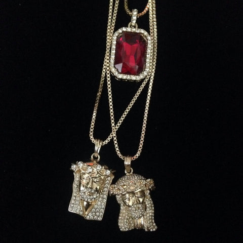 Red Stone / Jesus piece with Stones / Bling Jesus Piece Set