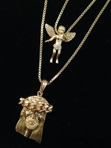 Angel with Bling Wing / Jesus piece with Link Crown Set