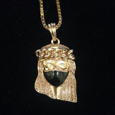 Gold Jesus Piece with Black Mask