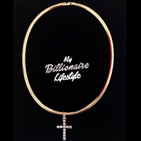 Gold Choker with Bling Cross