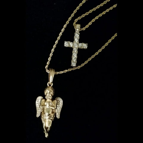Gold Cross / Angel on Rope Chain Set