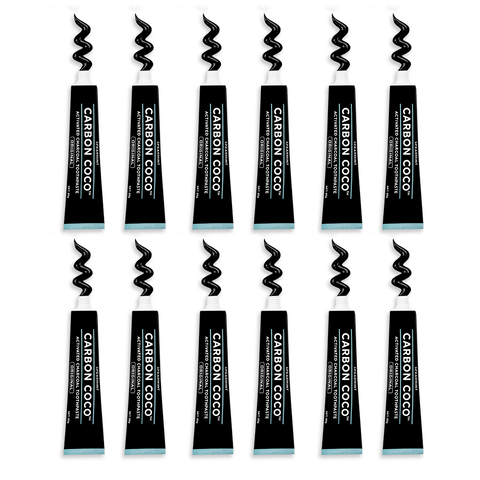 1 Year Supply of Activated Charcoal Toothpaste Fluoride Free (12 Tubes)