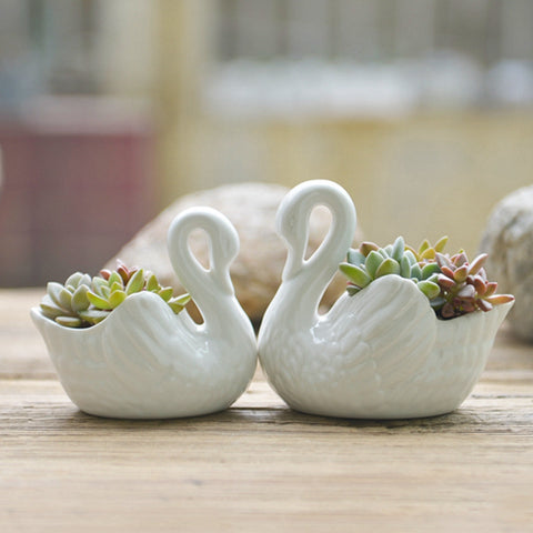 Set Of Two Ceramic Swan Planters Cherry2berry