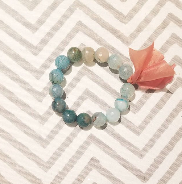 Chunky Stone Bracelet  -  12mm Translucent Ocean Agate (Faceted)