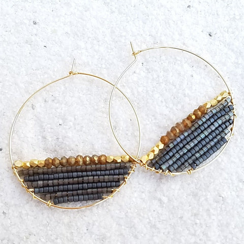 BLAKE 14K Gold Filled Golden Labradorite & Delica® Seed Beads Hoop Earrings (35mm)