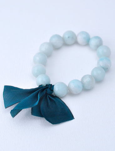 Chunky Stone Bracelet  -  12mm Milky Seafoam Agate (Faceted)
