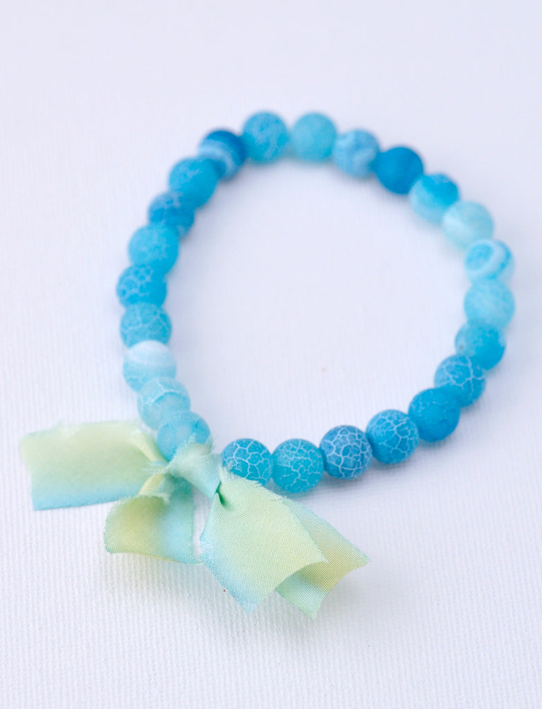 Chunky Stone Bracelet  -  Frosted Blue Agate