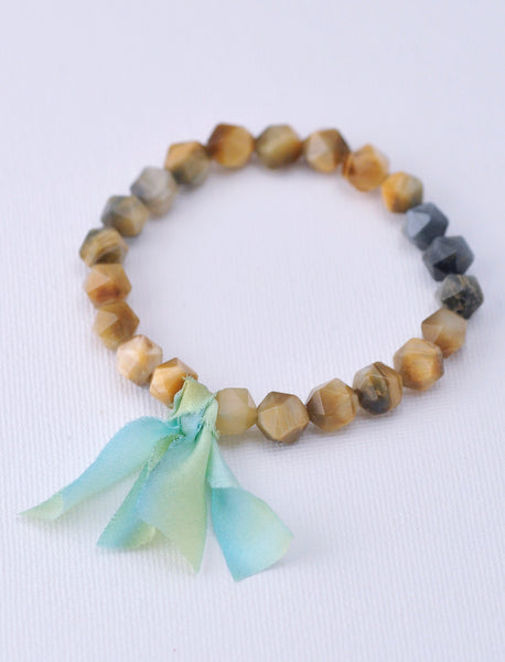 Chunky Stone Bracelet -  Brown Stripe Agate (Faceted)
