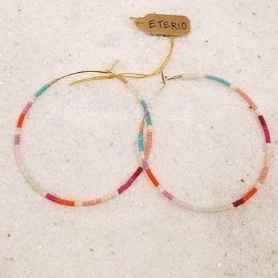 ETERIO 14K Gold Filled Multi-Color Delica® Seed Beads Hoop Earrings