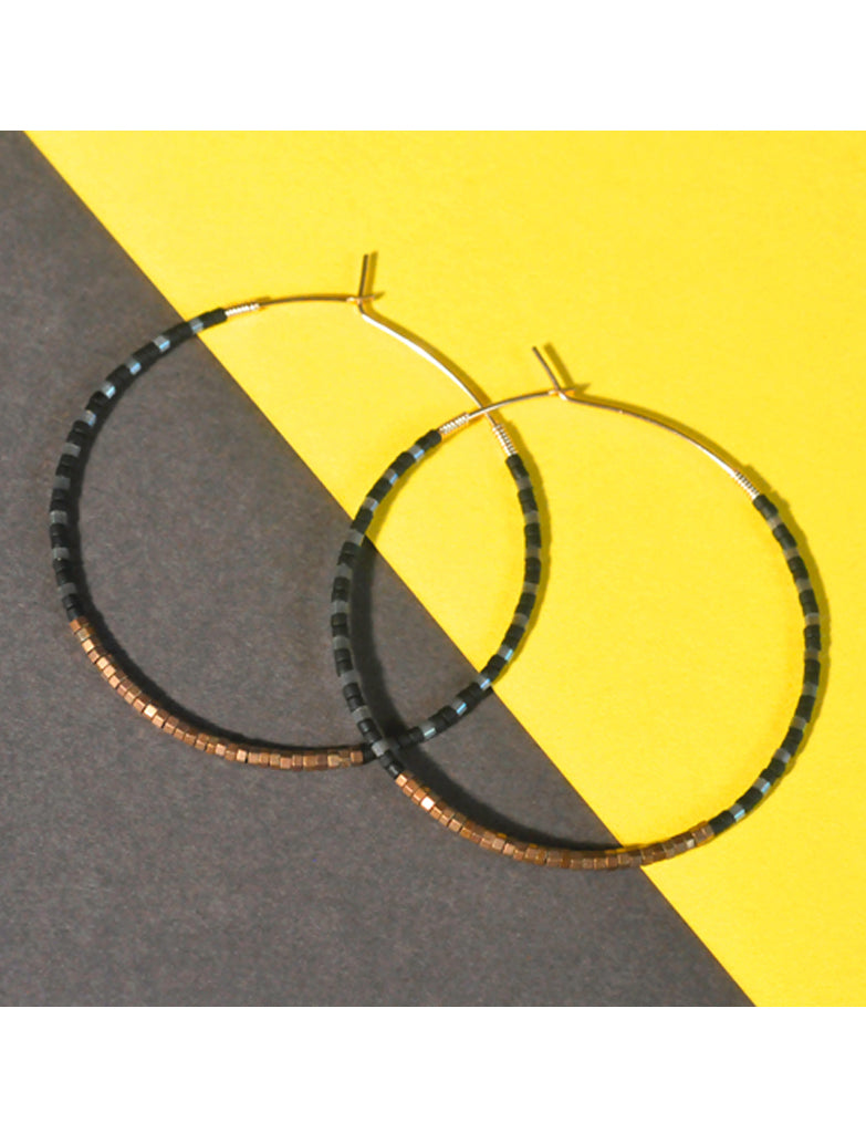 PETRA SPARKLE HOOPS - BLACK & SATIN