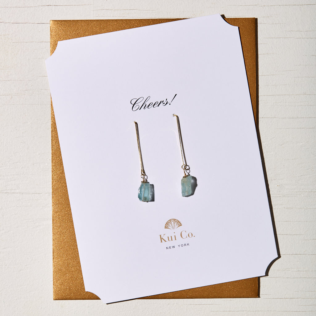 AQUAMARINE DROP CHAIN EARRINGS