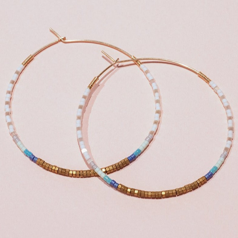 JULIETTE 14K Gold Filled Hematite & Delica® Seed Beads Hoop Earrings
