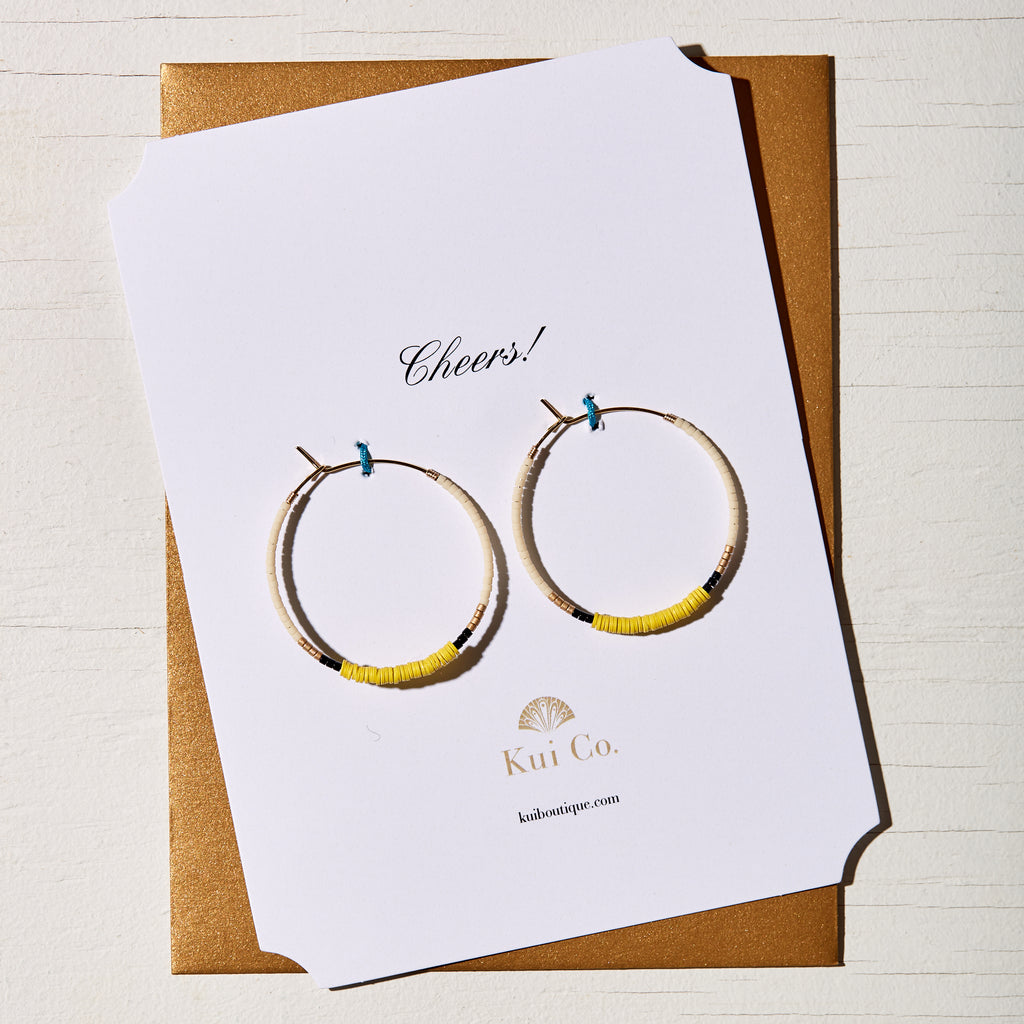 35MM 16K GOLD PLATED AFRICAN VINYL DISC YELLOW HOOP EARRINGS GREETING CARD