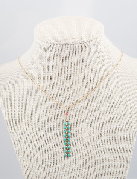 Jewelry Greeting Card Coral & Aqua Leaf Drop Necklace