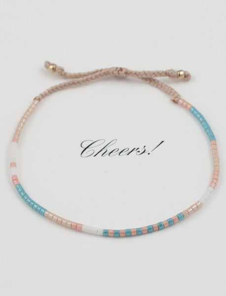 Jewelry Greeting Card Caribbean Blue & Baby Pink Wrap Bracelet -Adjustable cotton lace-