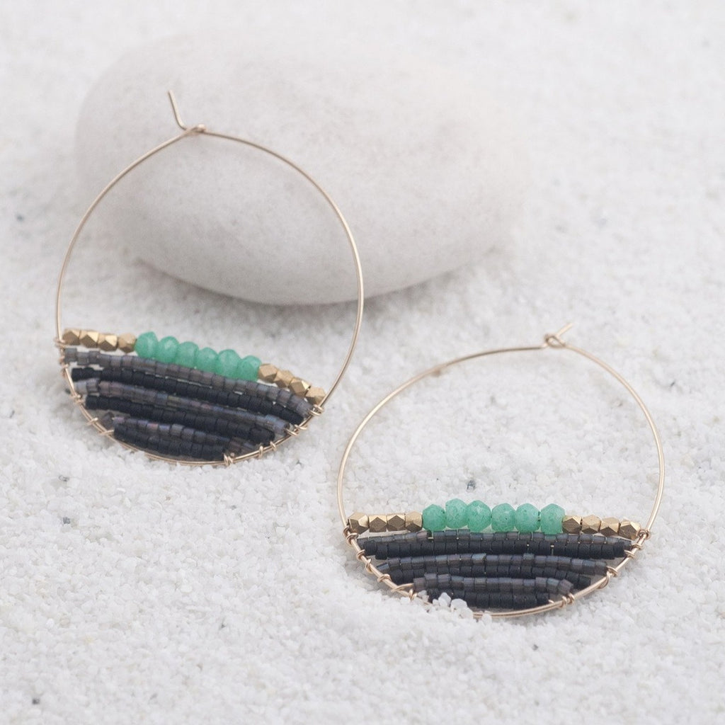 HANA 14K Gold Filled Chrysoprase & Delica® Seed Beads Hoop Earrings