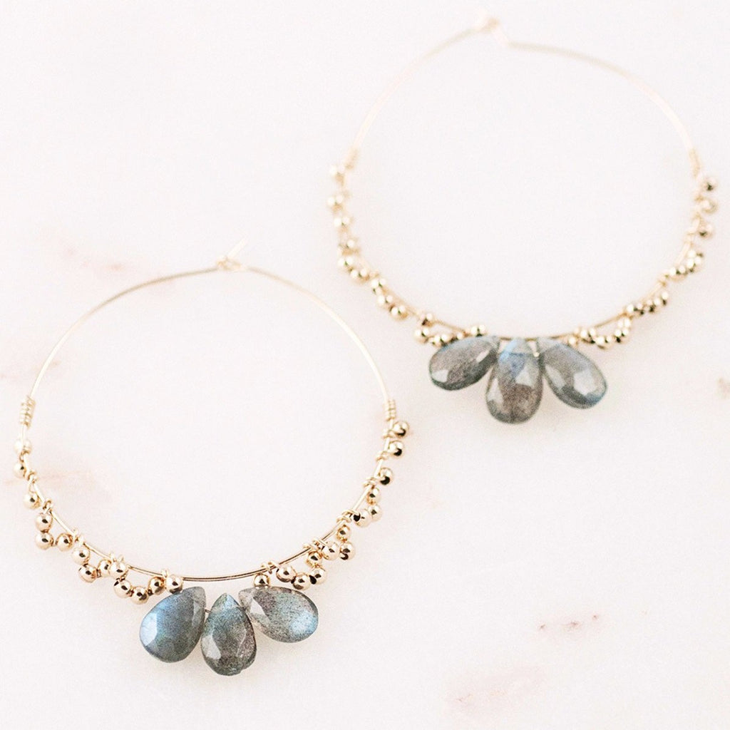DIANI Three-Stone Labradorite Shiny Gold Beads 14k Gold Filled Hoops