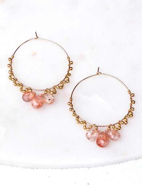 ANGELICA Three-Stone Hoop Earrings