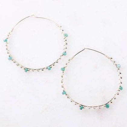 LUCIA Six-Stone Emerald and Gold Beads 14k Gold Filled Hoop Earrings