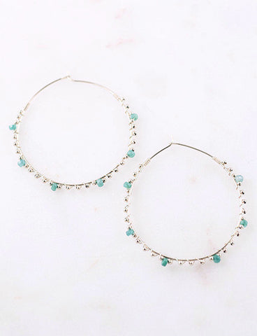 SINGLE EARRING - Six-Stone Gem Beads 14k Gold Filled Hoop Earrings
