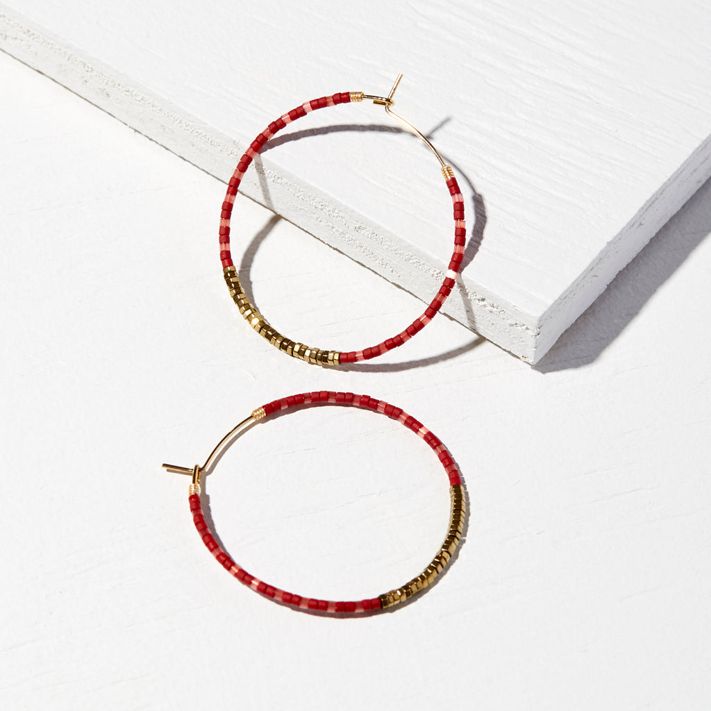 45MM CHERRY 14K GOLD FILLED BOLD MULTI-COLOR DELICA® HOOP EARRINGS