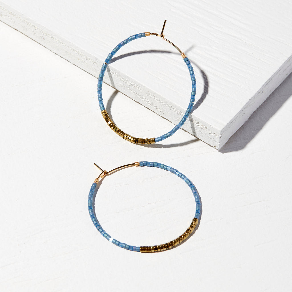 45MM CECIL 14K GOLD FILLED BOLD MULTI-COLOR DELICA® HOOP EARRINGS