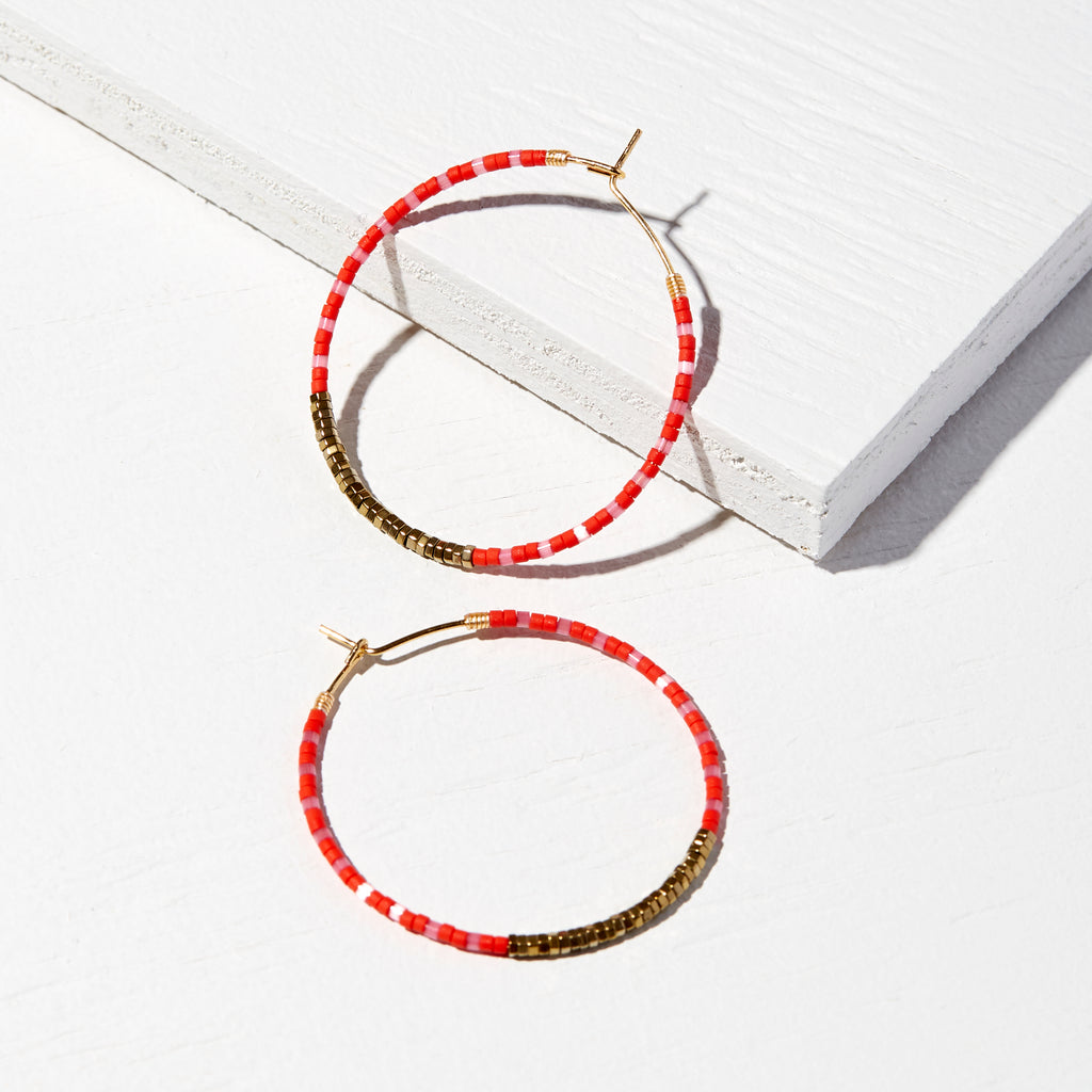 45MM SCARLET 14K GOLD FILLED BOLD MULTI-COLOR DELICA® HOOP EARRINGS