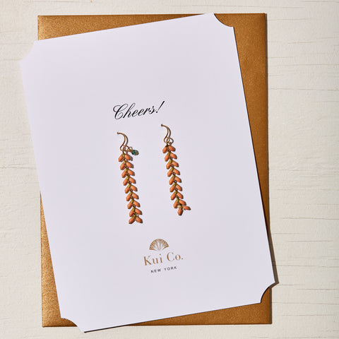 MYSTIC QUARTZ CORAL CHEVRON DROP EARRINGS GREETING CARD