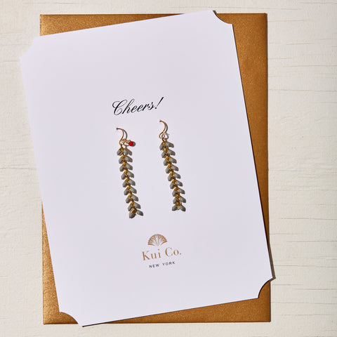 CORAL GRAY CHEVRON DROP EARRINGS GREETING CARD