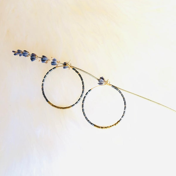 NEW COLORS! Hematite and Delica® Seed Beads Hoop Earrings