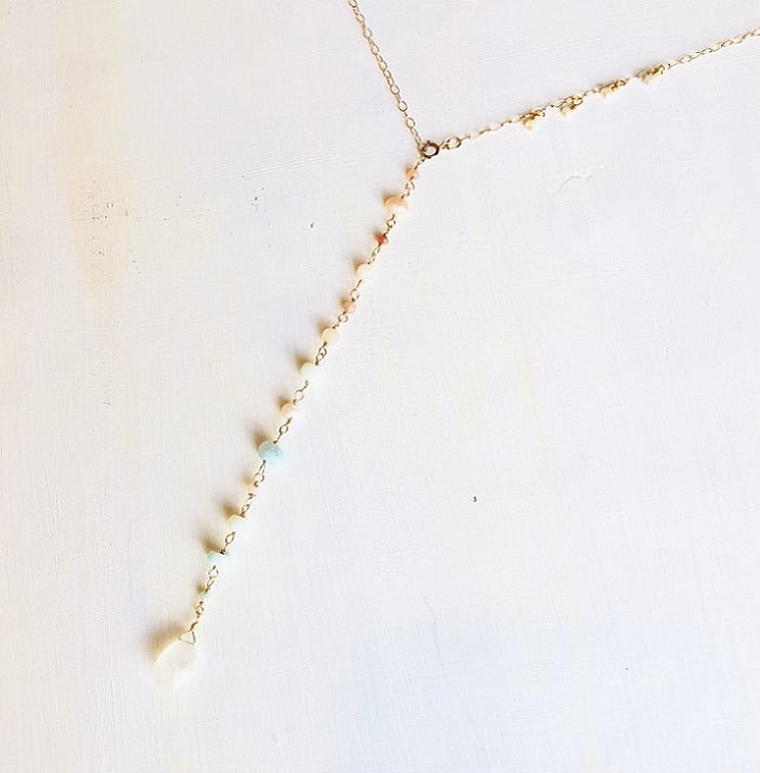NEW! FLEUR ADJUSTABLE GOLD CHAIN NECKLACE W/ MOON STONE