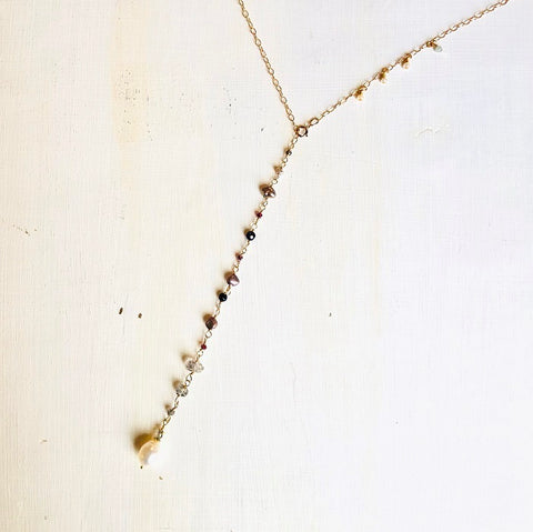 NEW! CAROLINE ADJUSTABLE GOLD CHAIN NECKLACE W/ PEARL & HERKIMER DIAMOND