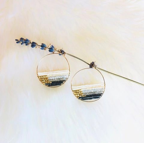 GRAYSON BEADED PEARL HOOP EARRINGS