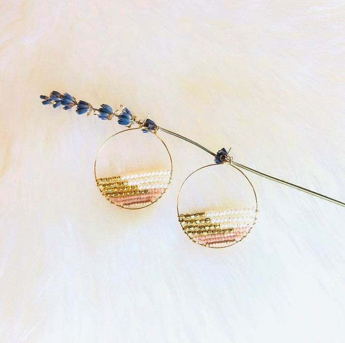 CHARLOTTE BEADED PEARL HOOP EARRINGS