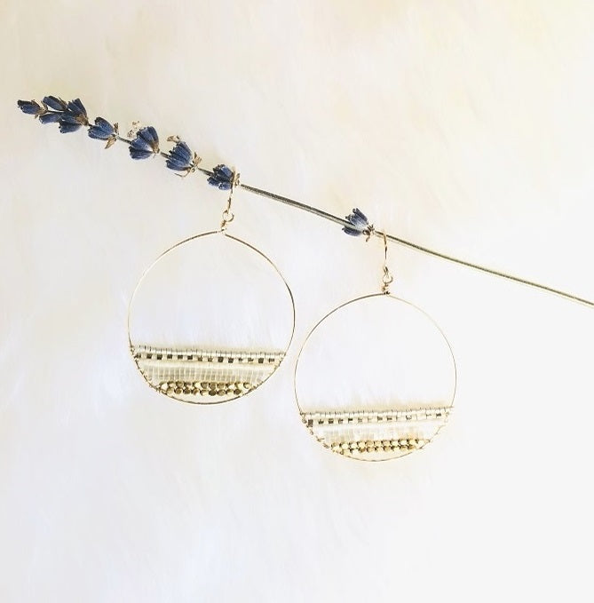 NEW! SIENNA STATEMENT DROP BEADED CIRCLE EARRINGS