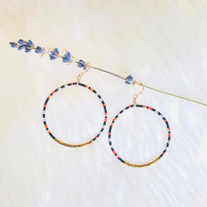 NEW! OCTAVIA DROP BEADED CIRCLE EARRINGS