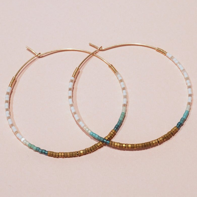SARAH 14K Gold Filled Hematite & Delica® Seed Beads Hoop Earrings