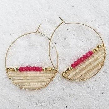 SAYORA14K Gold Filled Ruby & Delica® Seed Beads Hoop Earrings (35mm)