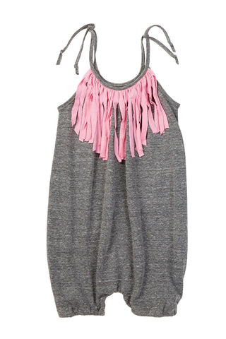 Heather Gray & Pink Fringe Bubble Romper