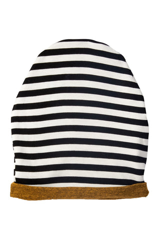 Black Striped & Mustard Reversible Beanie