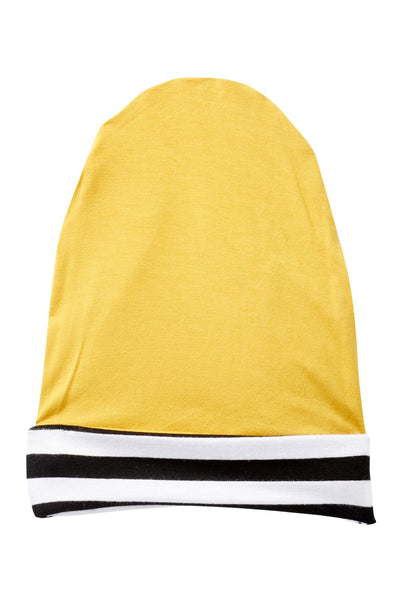 Black Striped & Mustard Rayon Reversible Beanie
