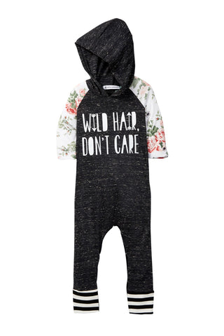 Hooded Wild Hair Don't Care Raglan Romper