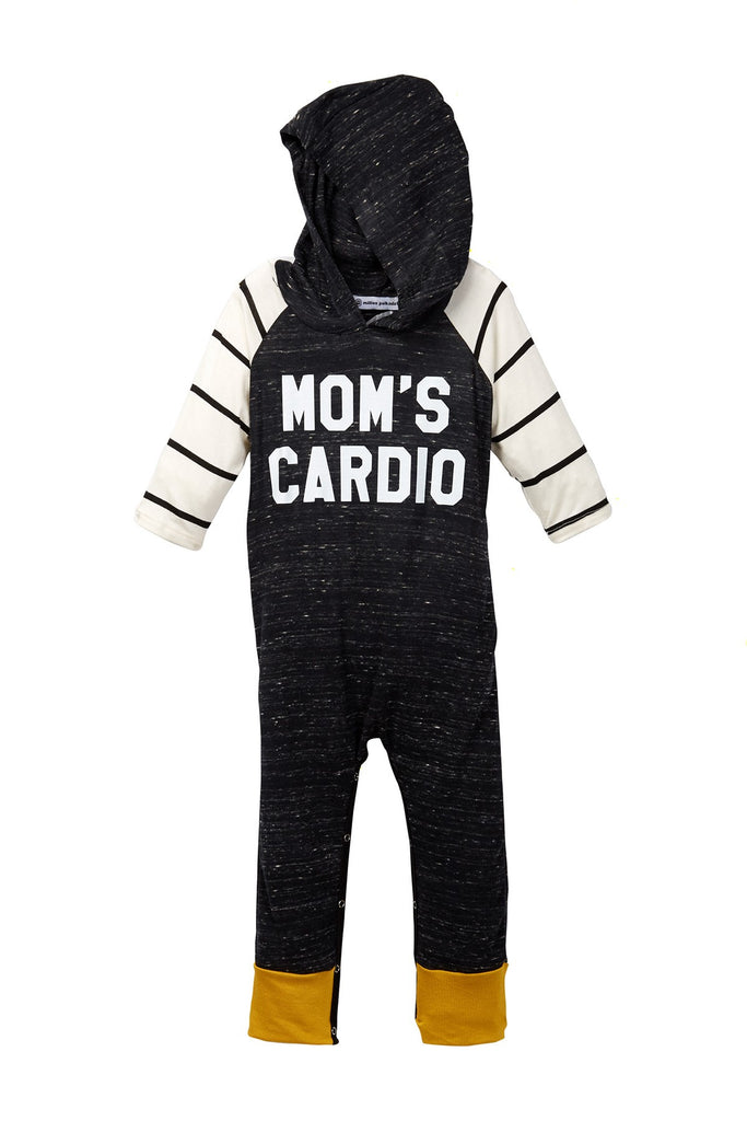 Mom's Cardio Charcoal Raglan Hooded Romper
